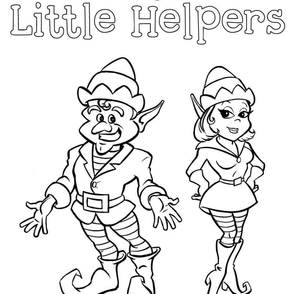 Christmas Elves Coloring Pages Printable With Elf Free Download And On The
