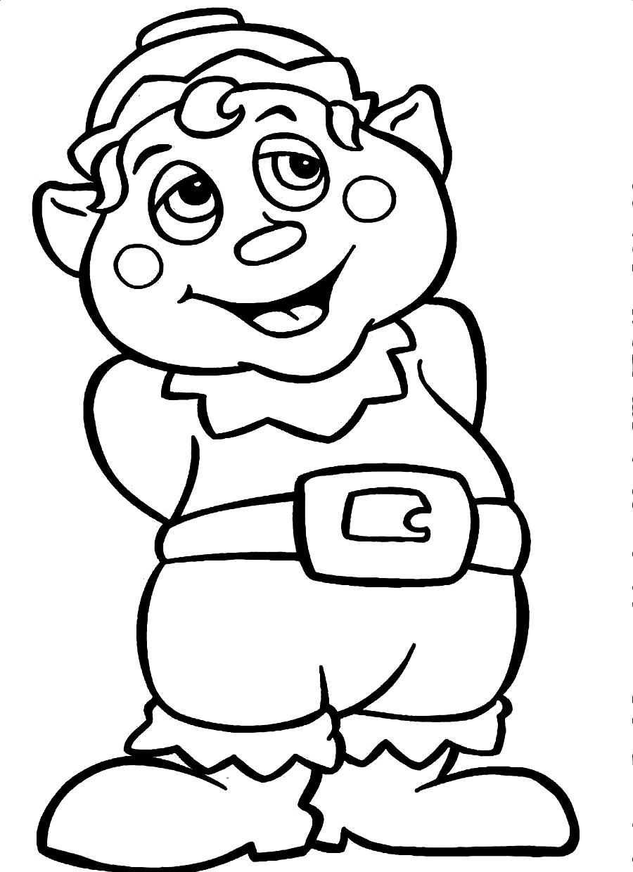 Christmas Elves Coloring Pages Printable With Free Elf For Kids