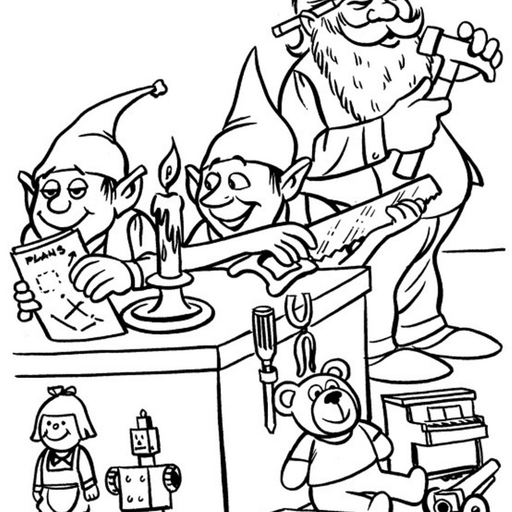 Christmas Elves Coloring Pages To Print With Awesome Santa And Collection Free Book