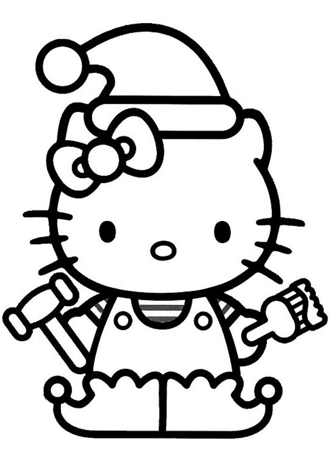 Christmas Elves Coloring Pages To Print With Elf Hello Kitty