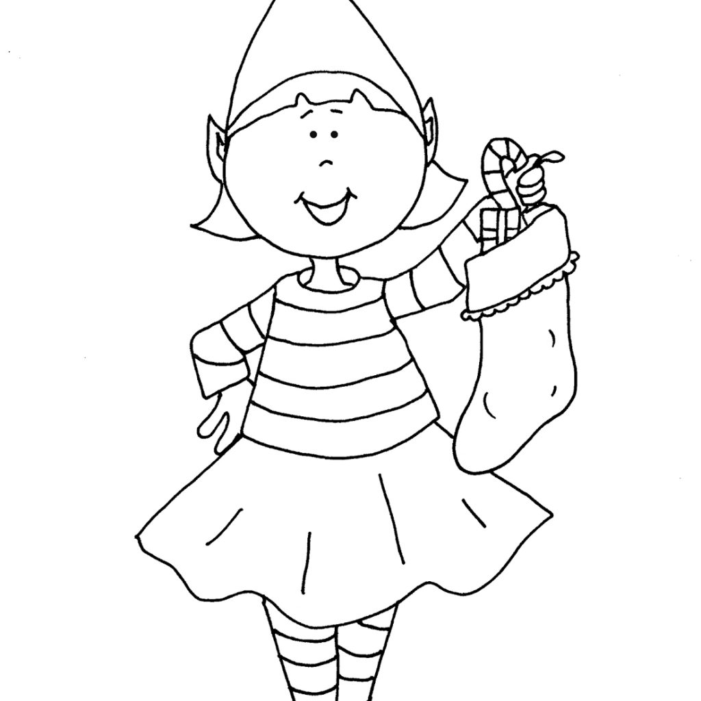 Christmas Elves Coloring Pages To Print With Elf Printable Download Book