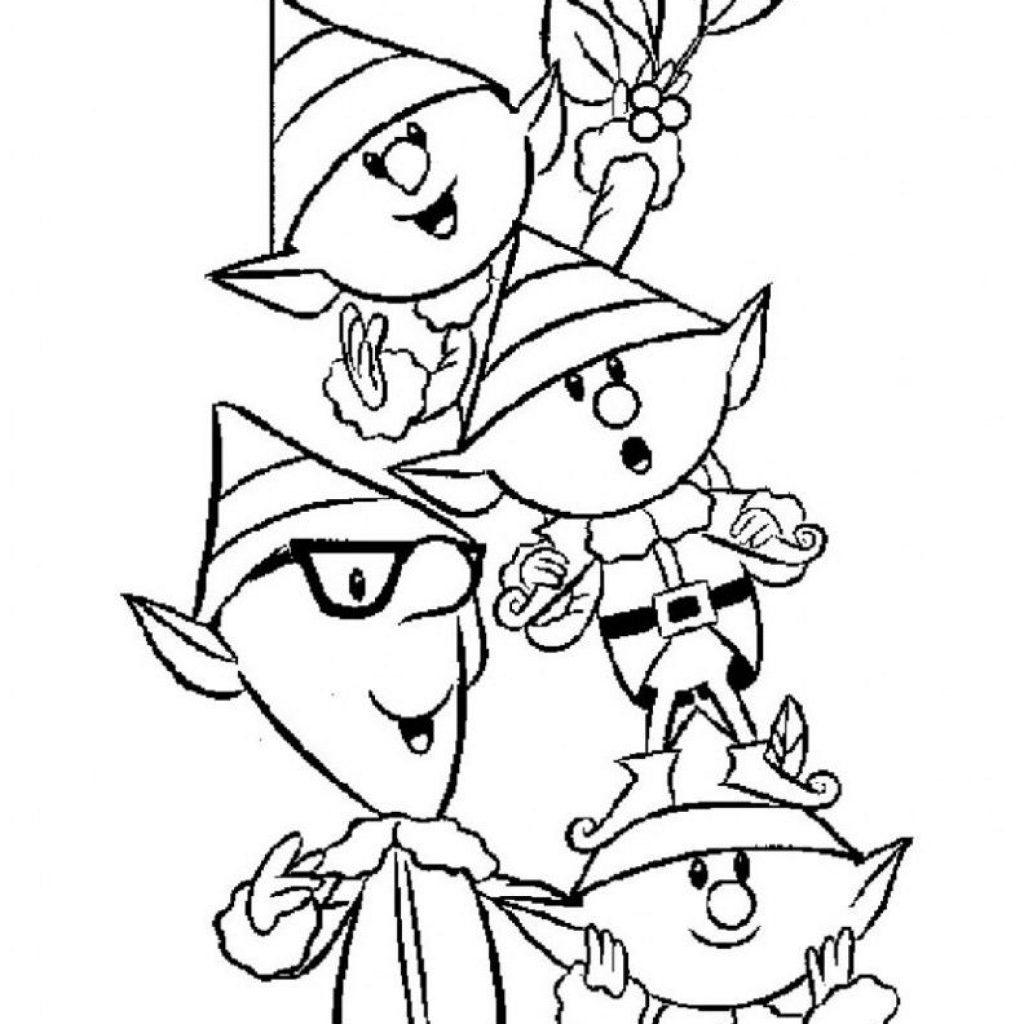 Christmas Elves Coloring Pages To Print With Free Printable Elf For Kids Holidays