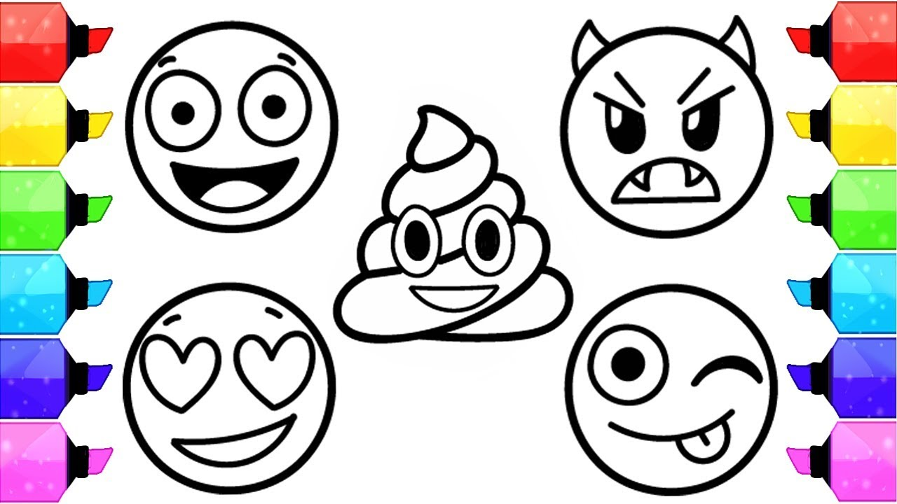 Christmas Emoji Coloring Pages With EMOJI How To Draw And Color Faces Kids