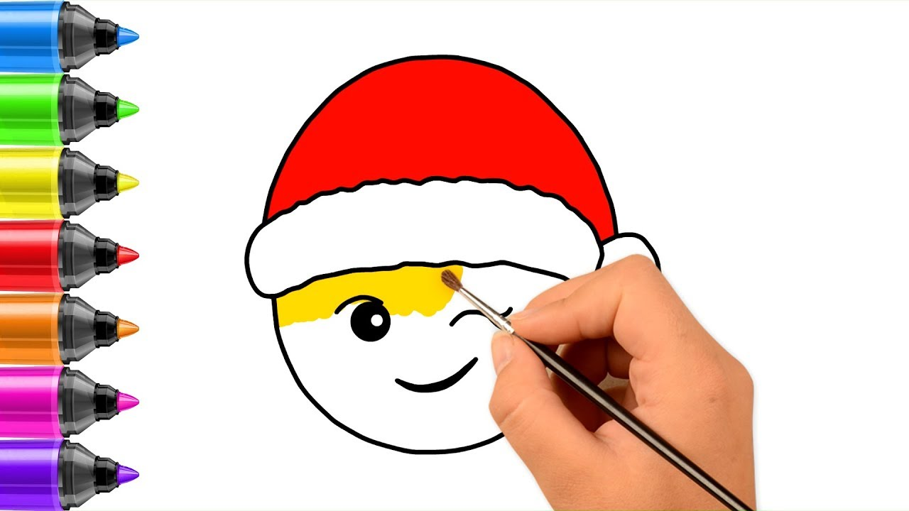 Christmas Emoji Coloring Pages With How To Draw For Children