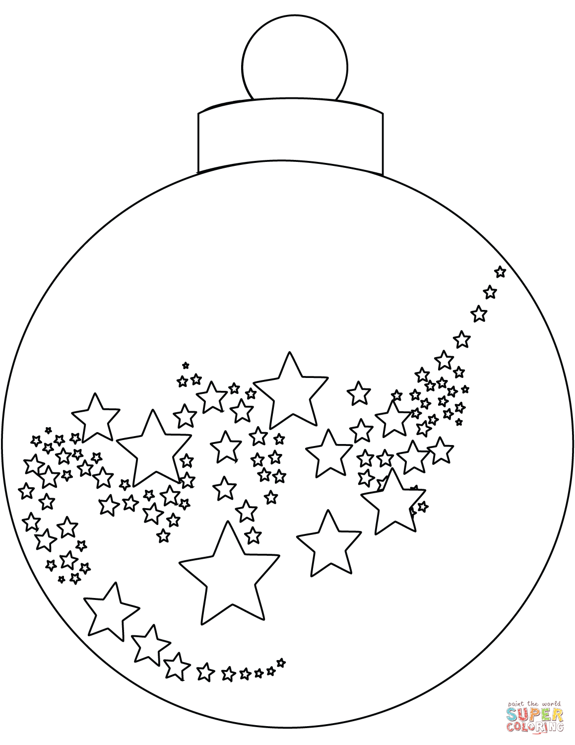 Christmas English Coloring With Ornament Page Free Printable Pages