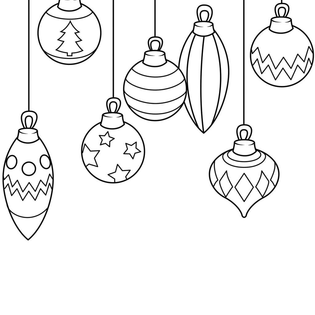 Christmas English Coloring With Ornaments Page Free Printable Pages