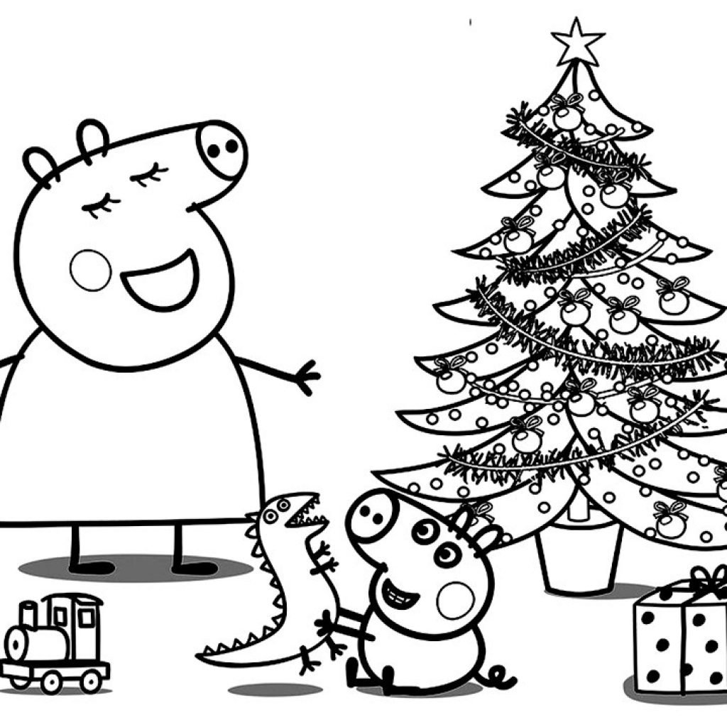 Christmas English Coloring With Peppa Pig Book Pages For Kids Learn Colours Art