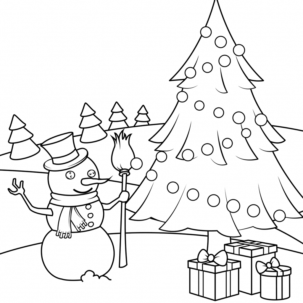 Christmas English Coloring With Snowman Pages Free
