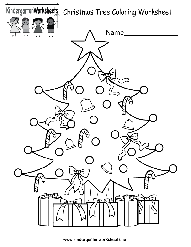 Christmas English Coloring With Tree Worksheet Free Kindergarten Holiday