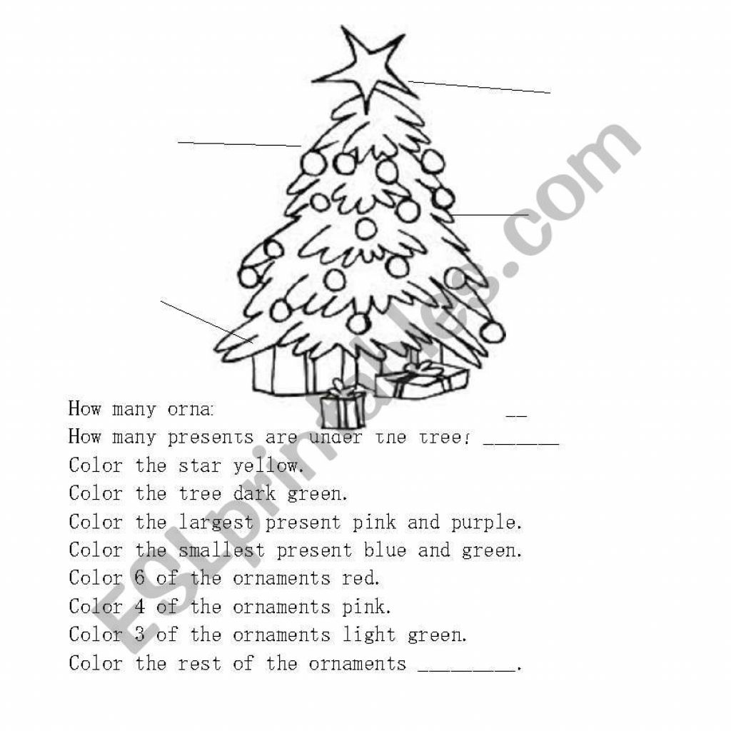 Christmas English Coloring With Worksheets Tree Page