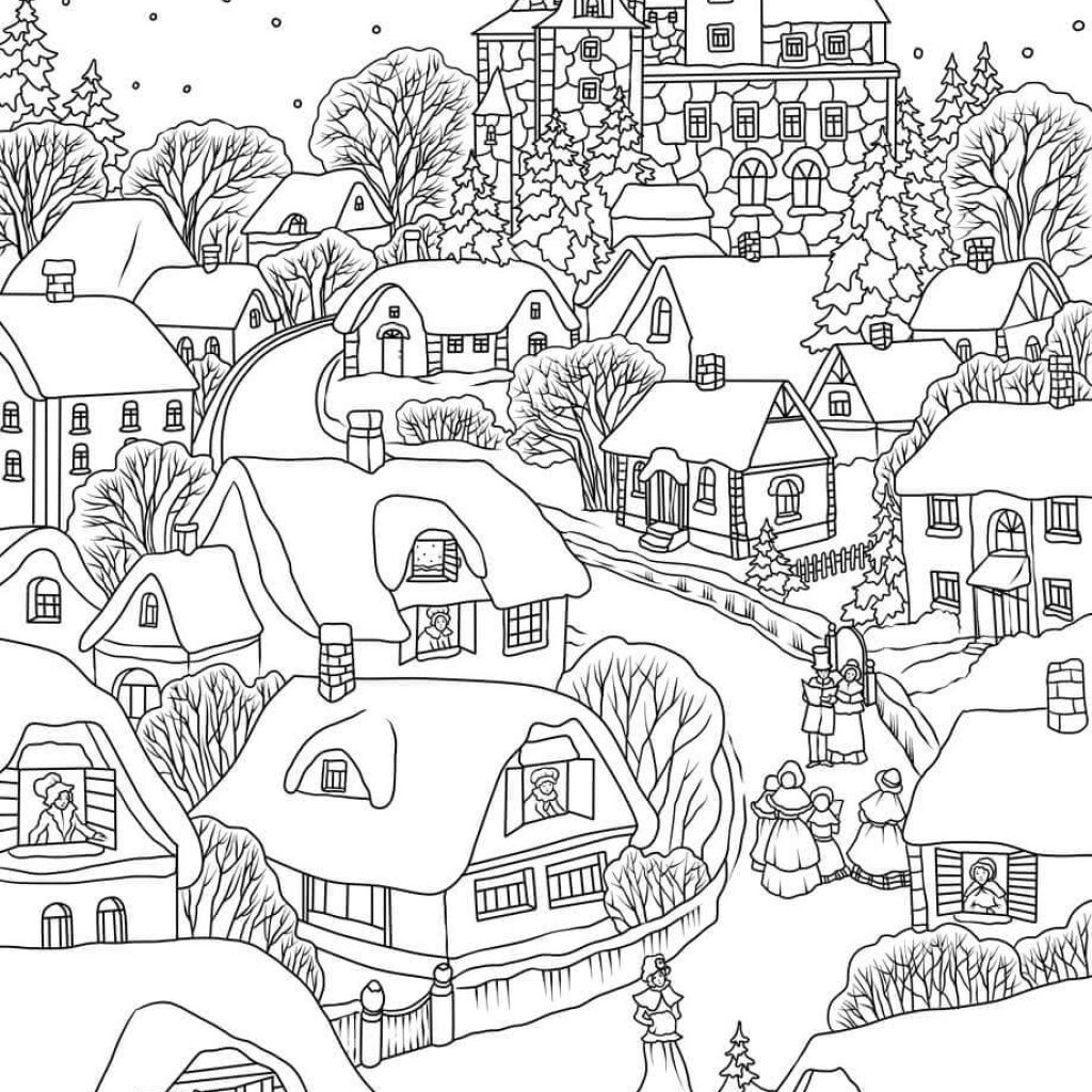 Christmas Eve Coloring Sheets With Snowy Village On Page Free Printable
