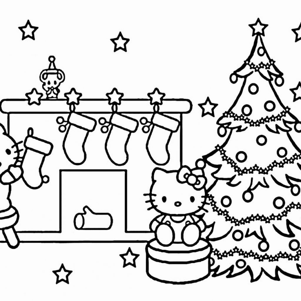 Christmas Eve Coloring With Cat Page Printable Pages