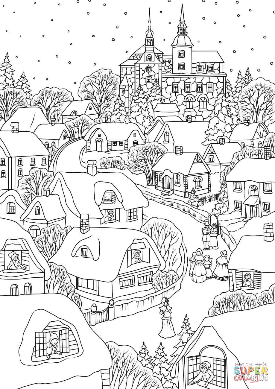Christmas Eve Coloring With Snowy Village On Page Free Printable