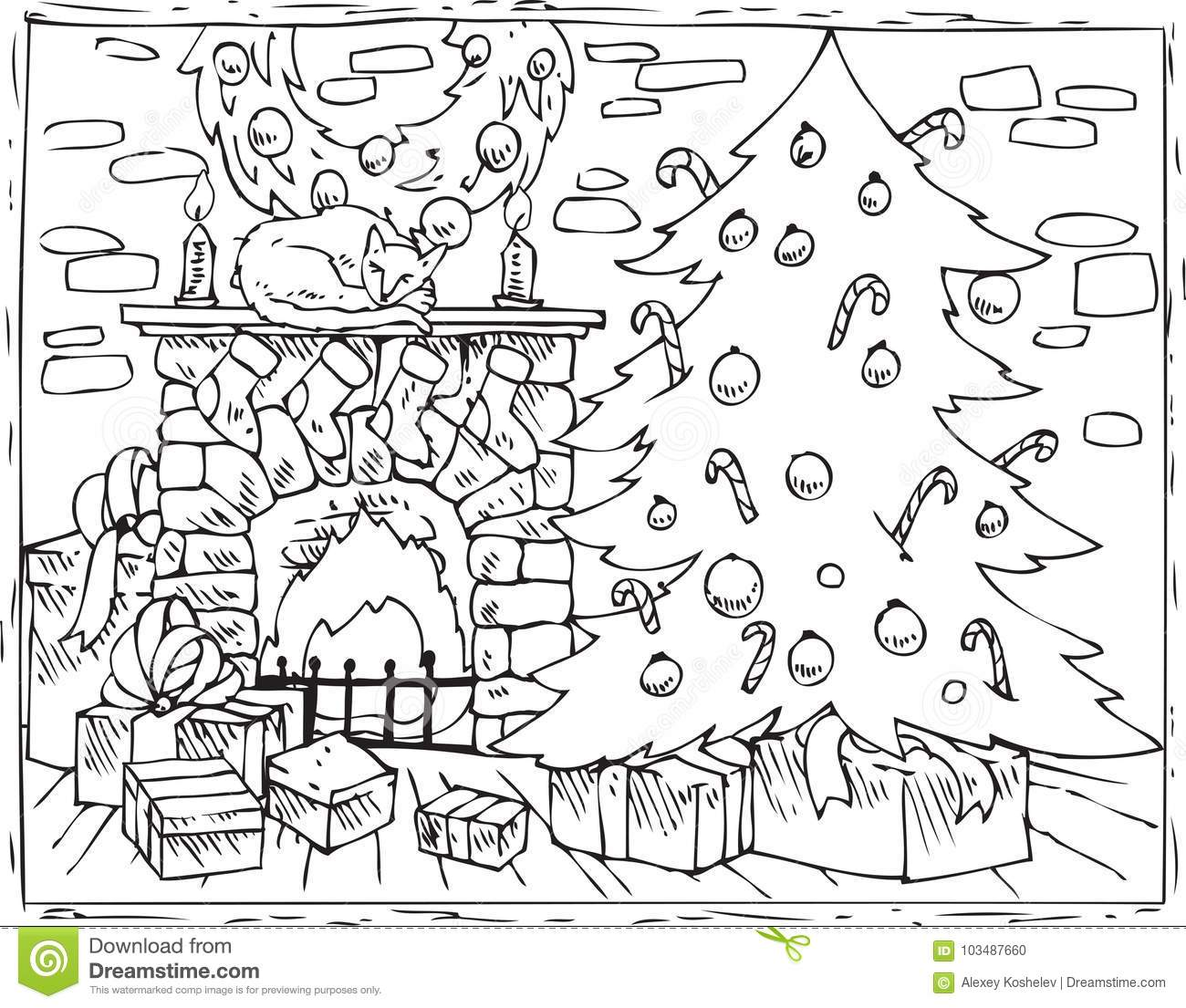 Christmas Fireplace Coloring Page With Book Tree And Gifts Stock Vector