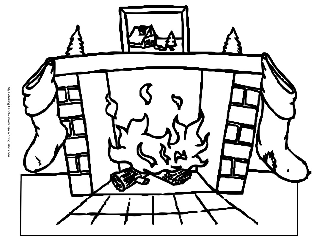 Christmas Fireplace Coloring Page With Chimneys And Fireplaces On Pages Art N