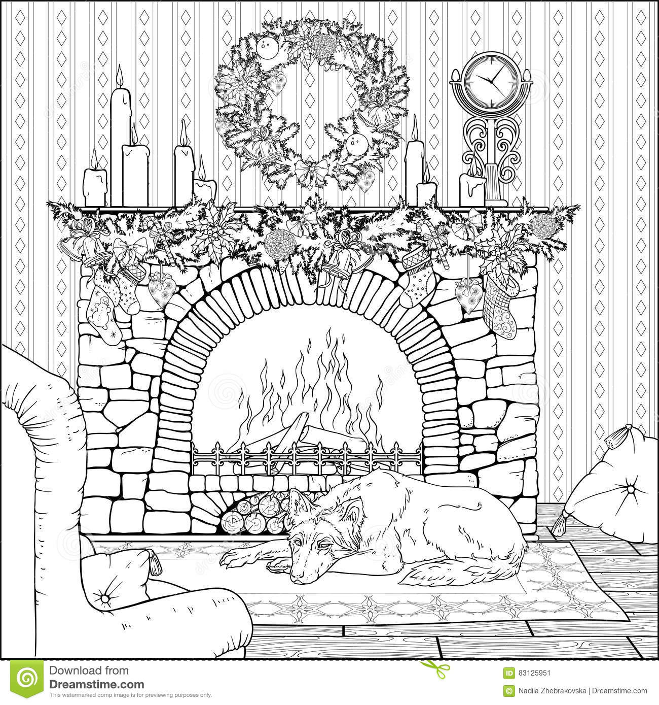 Christmas Fireplace Coloring Page With Dog Resting In Front Of Decorated Stock Vector