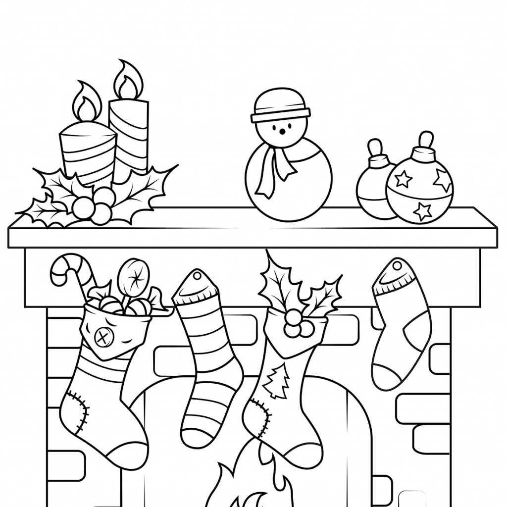Christmas Fireplace Coloring Page With Free Printable Pages