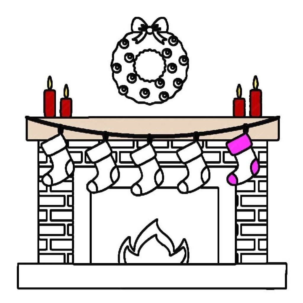 Christmas Fireplace Coloring Page With How To Color For Kids YouTube