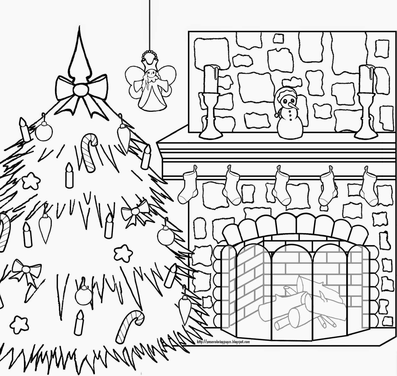 Christmas Fireplace Coloring Page With Pages Collection Free Books