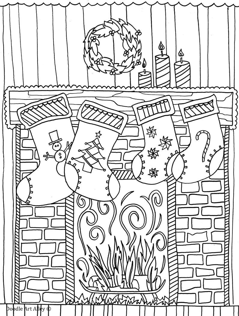 Christmas Fireplace Coloring Page With Pages Pinterest