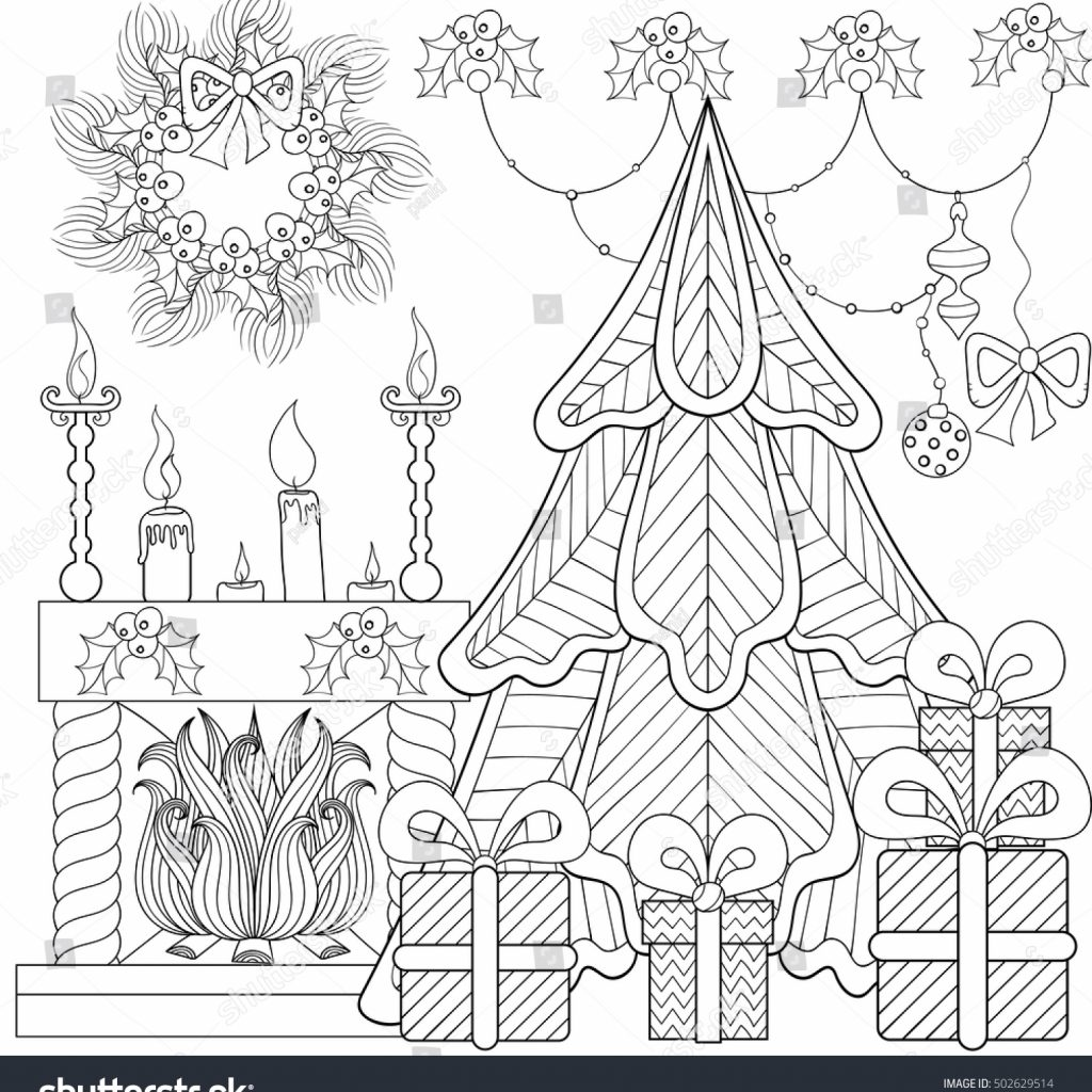 Christmas Fireplace Coloring Page With Patterned Home Interior Stock Vector