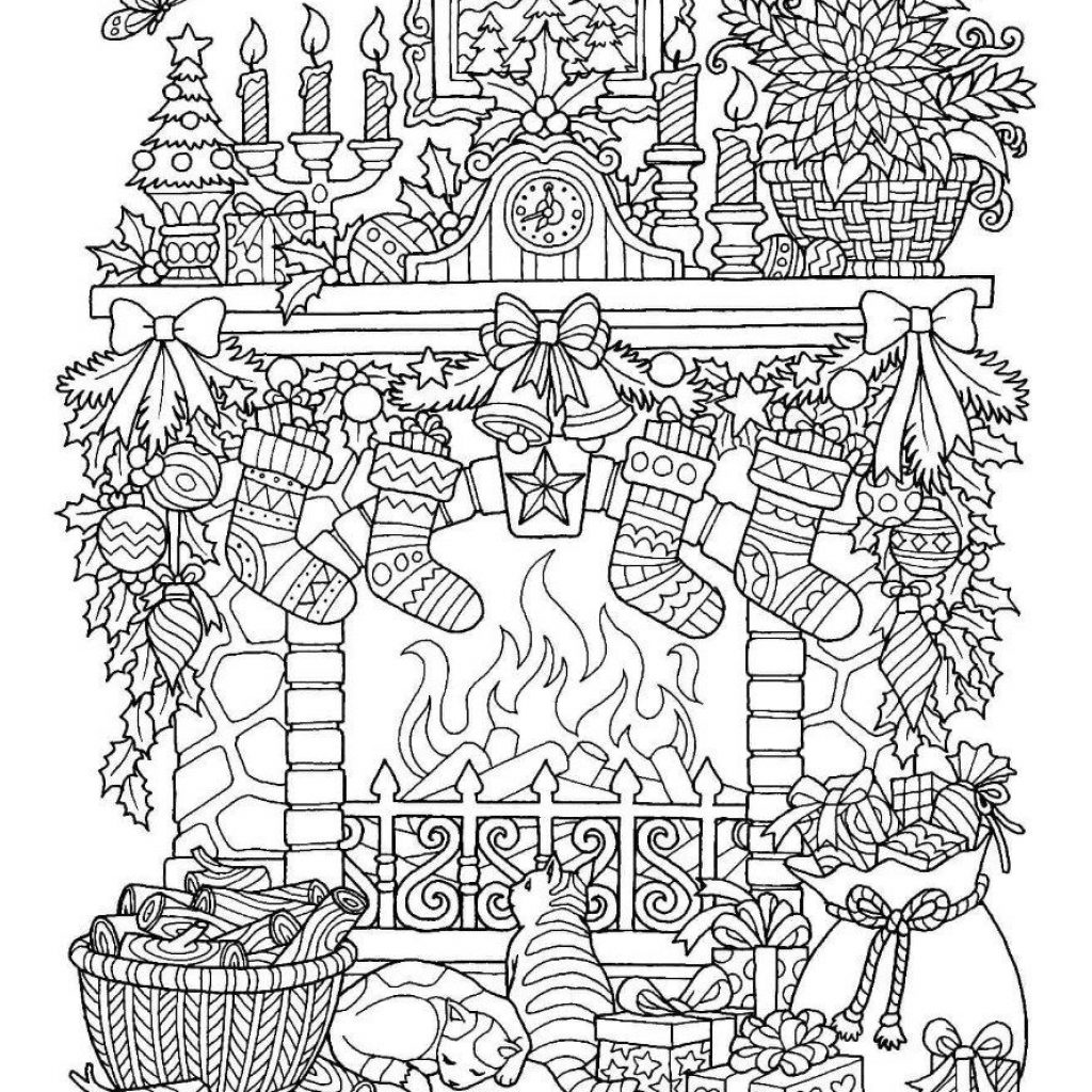 Christmas Fireplace Coloring Page With Pinterest