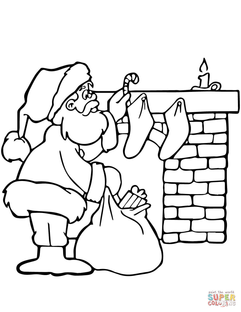 Christmas Fireplace Coloring Page With Presents At Free Printable
