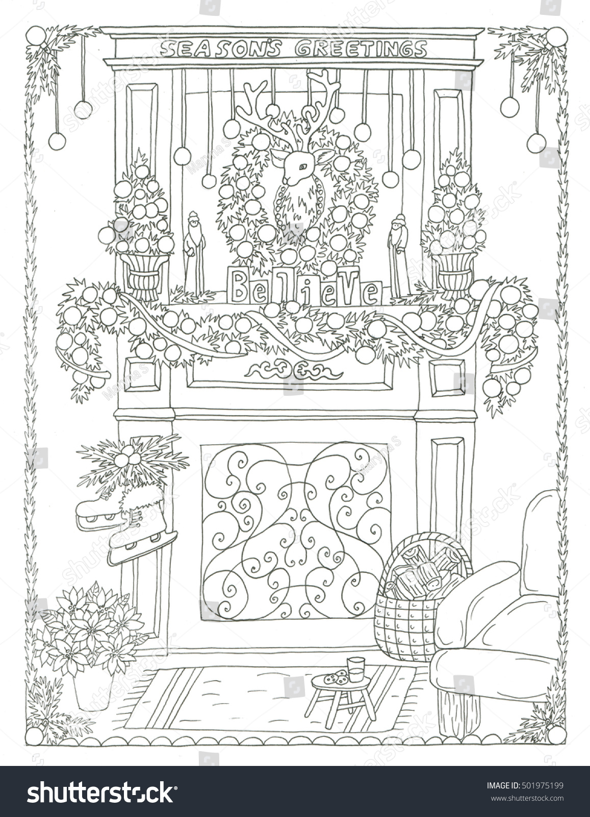 Christmas Fireplace Coloring Page With Stock Illustration 501975199