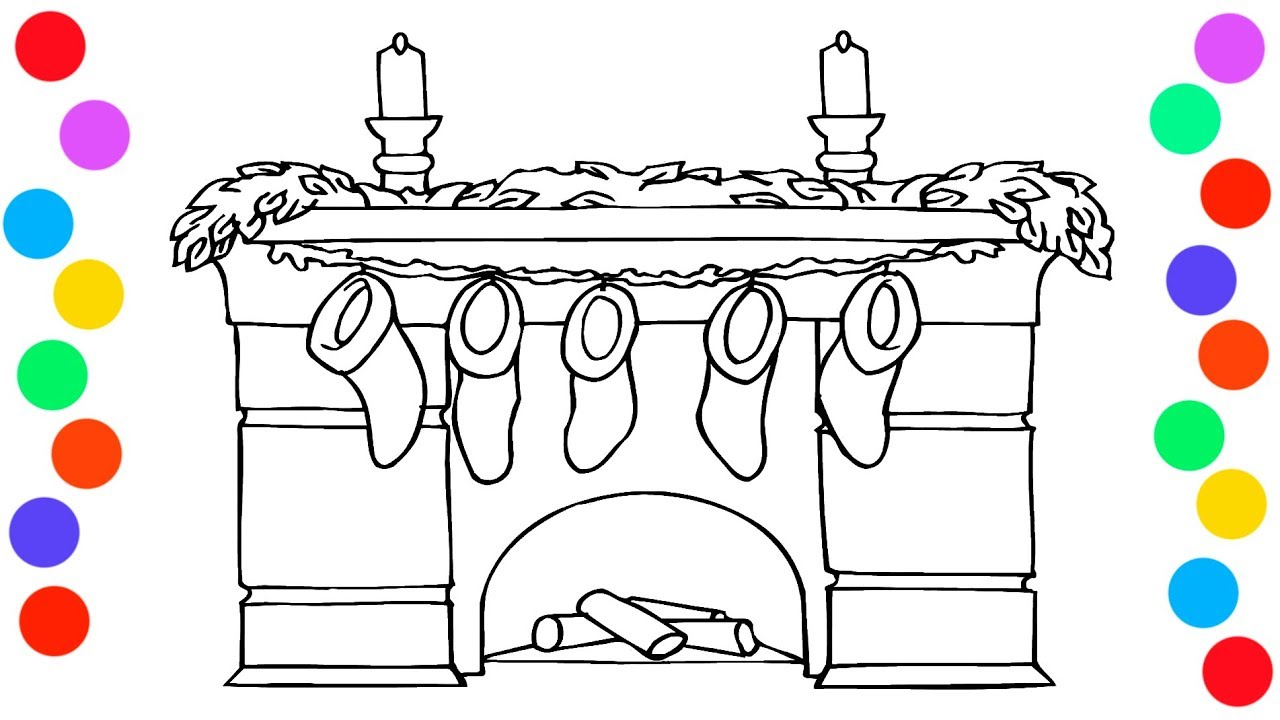 Christmas Fireplace Coloring Page With Stockings Pages For Kids