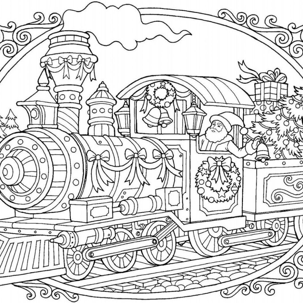 Christmas Fireplace Coloring Page With The Train Pinterest