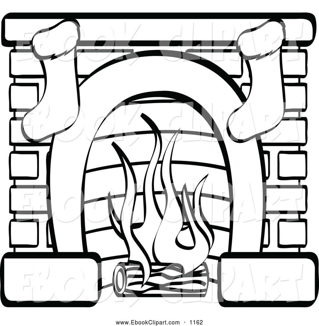 Christmas Fireplace Coloring Page With Vector Clip Art Of A Black And White Two