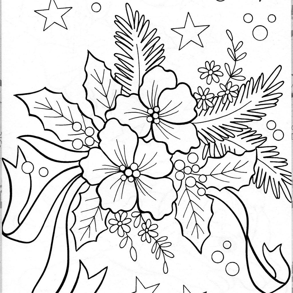 Christmas Flower Coloring Pages With Pinterest Colors