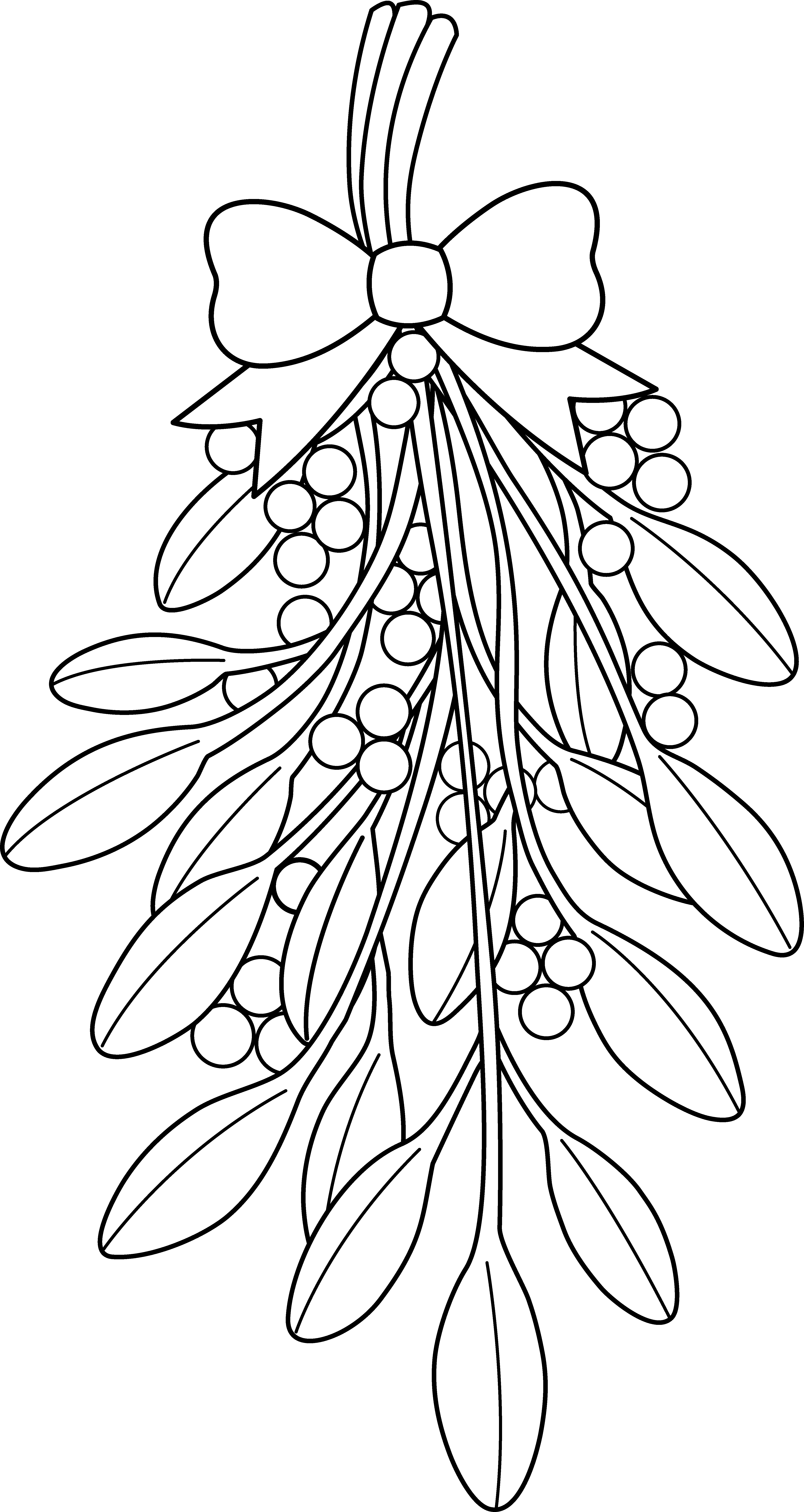 Christmas Garland Coloring Pages With Mistletoe Clipart Black And White Adult
