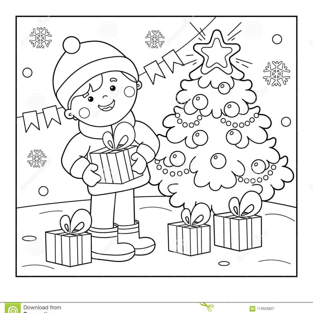 Christmas Garland Coloring Pages With Page Outline Of Boy Gifts At Tree