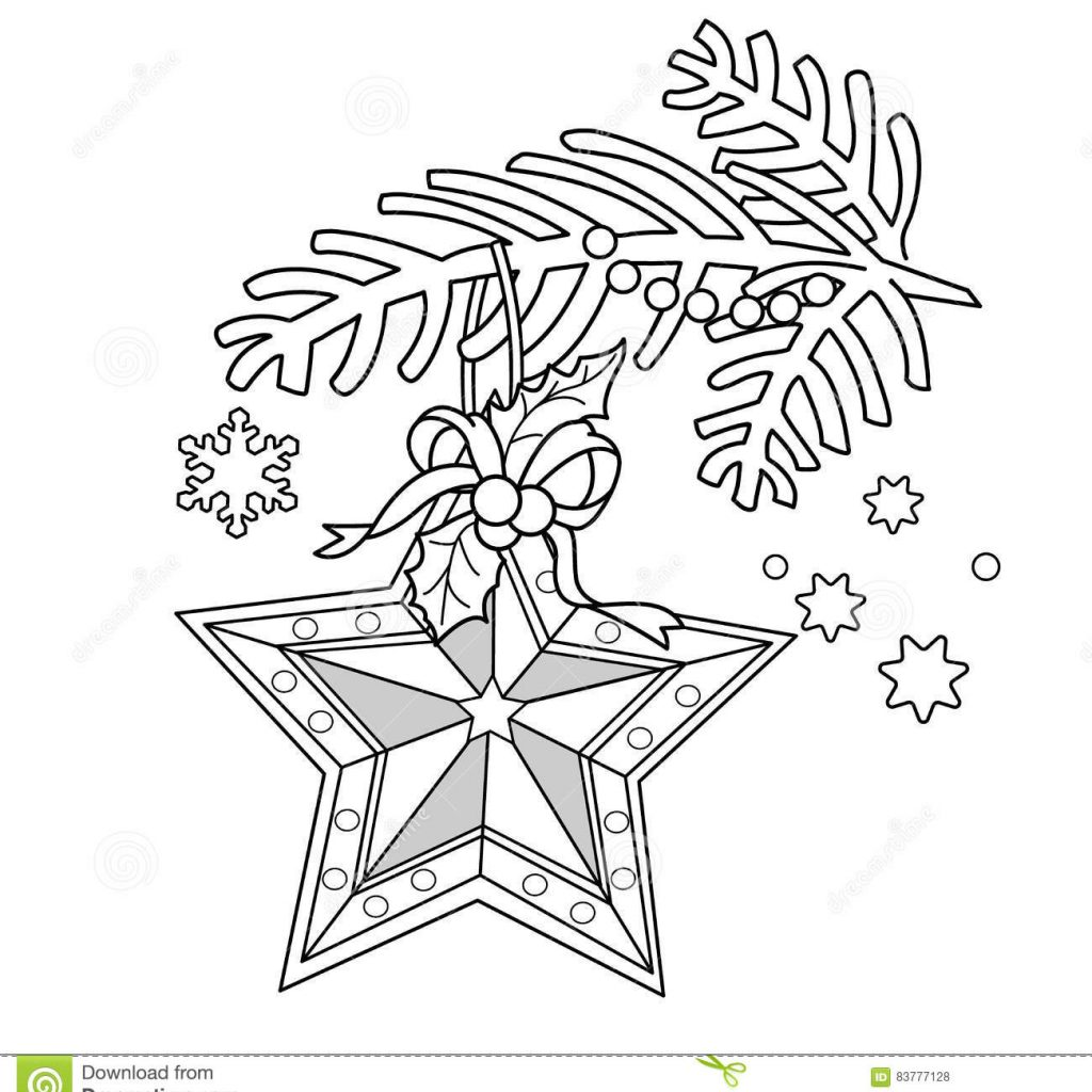 Christmas Garland Coloring Pages With Page Outline Of Decoration Star