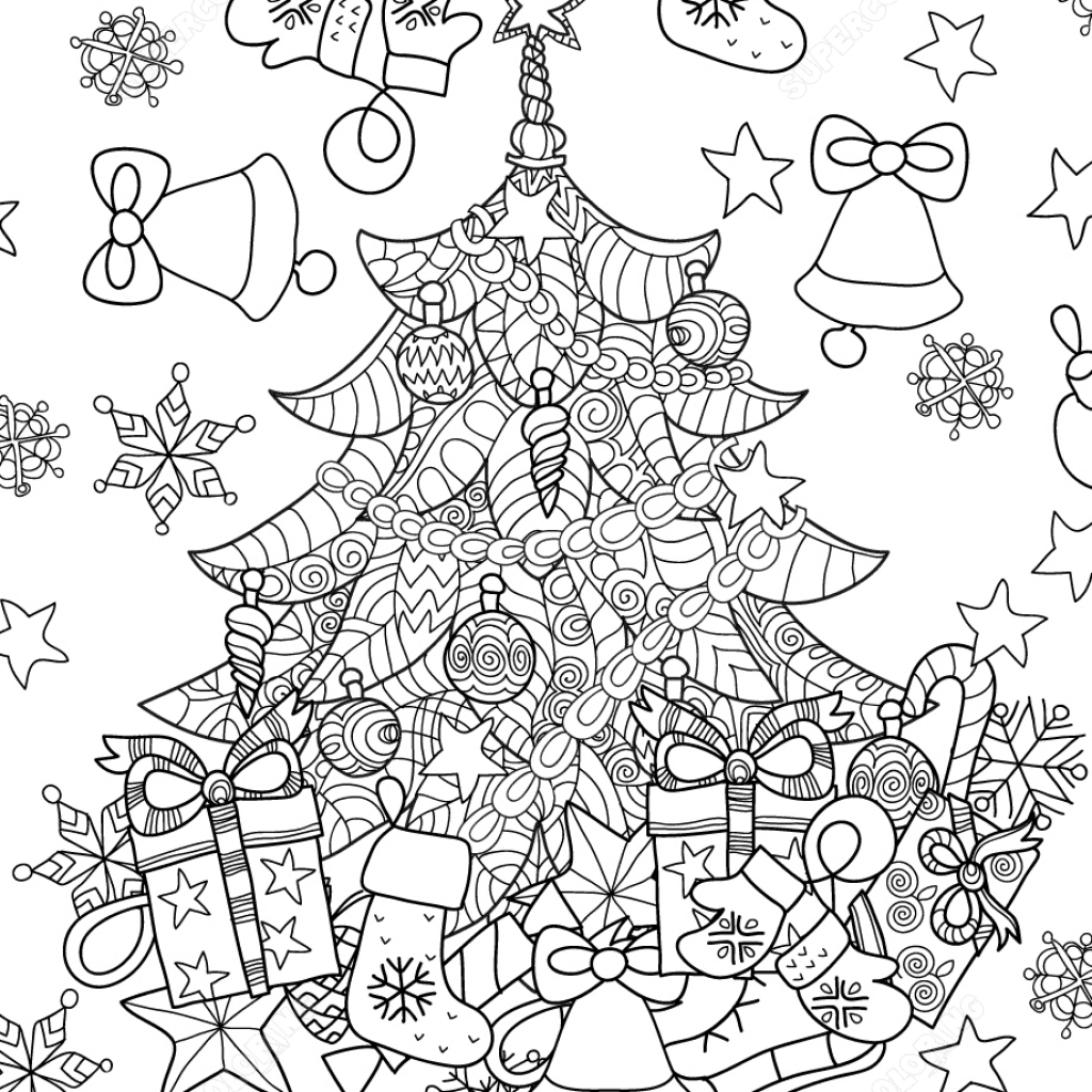Christmas Garland Coloring Pages With Tree Zentangle Page Free Printable