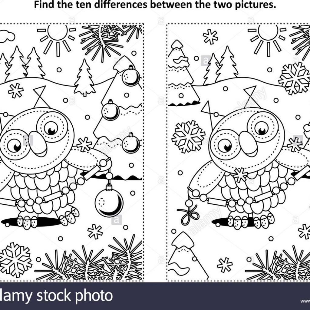 Christmas Garland Coloring Pages With Winter Holidays New Year Or Themed Find The Ten