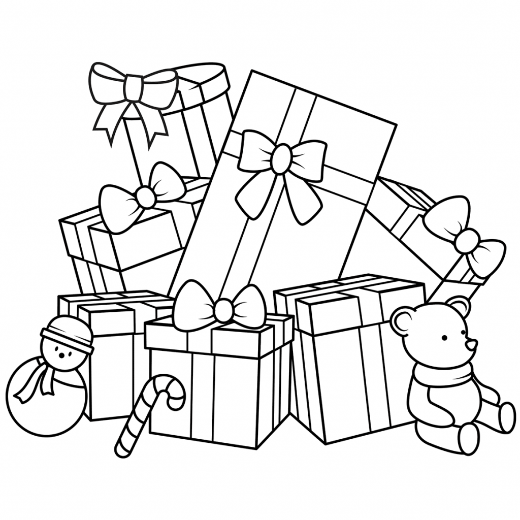 Christmas Gift Coloring Page With Gifts Pages Free