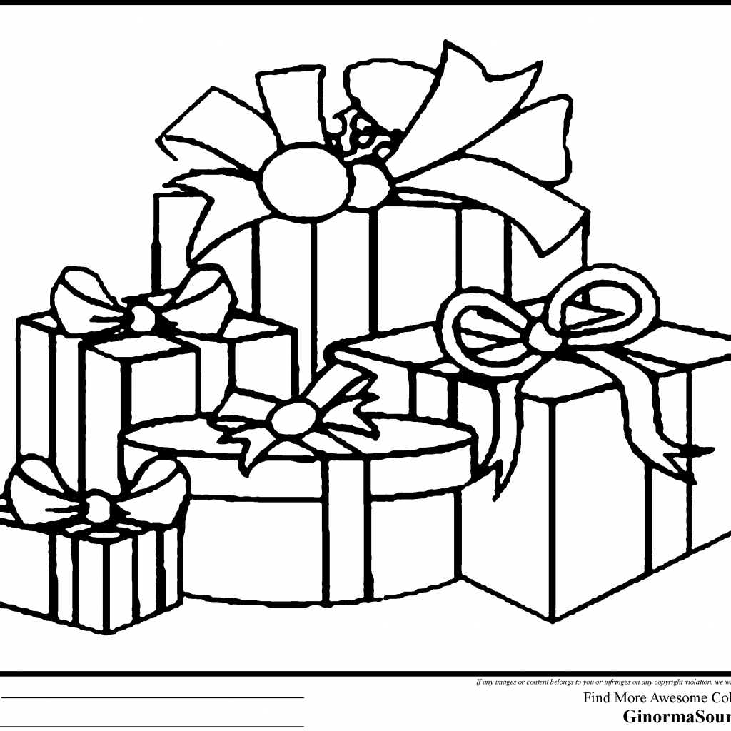 Christmas Gift Coloring Page With Gifts Pages Printable Fun For Throughout Animage Me