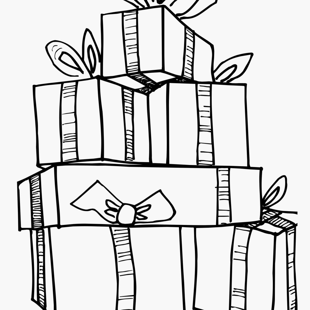 Christmas Gift Coloring Page With Presents Pages Present Ideas Elegant