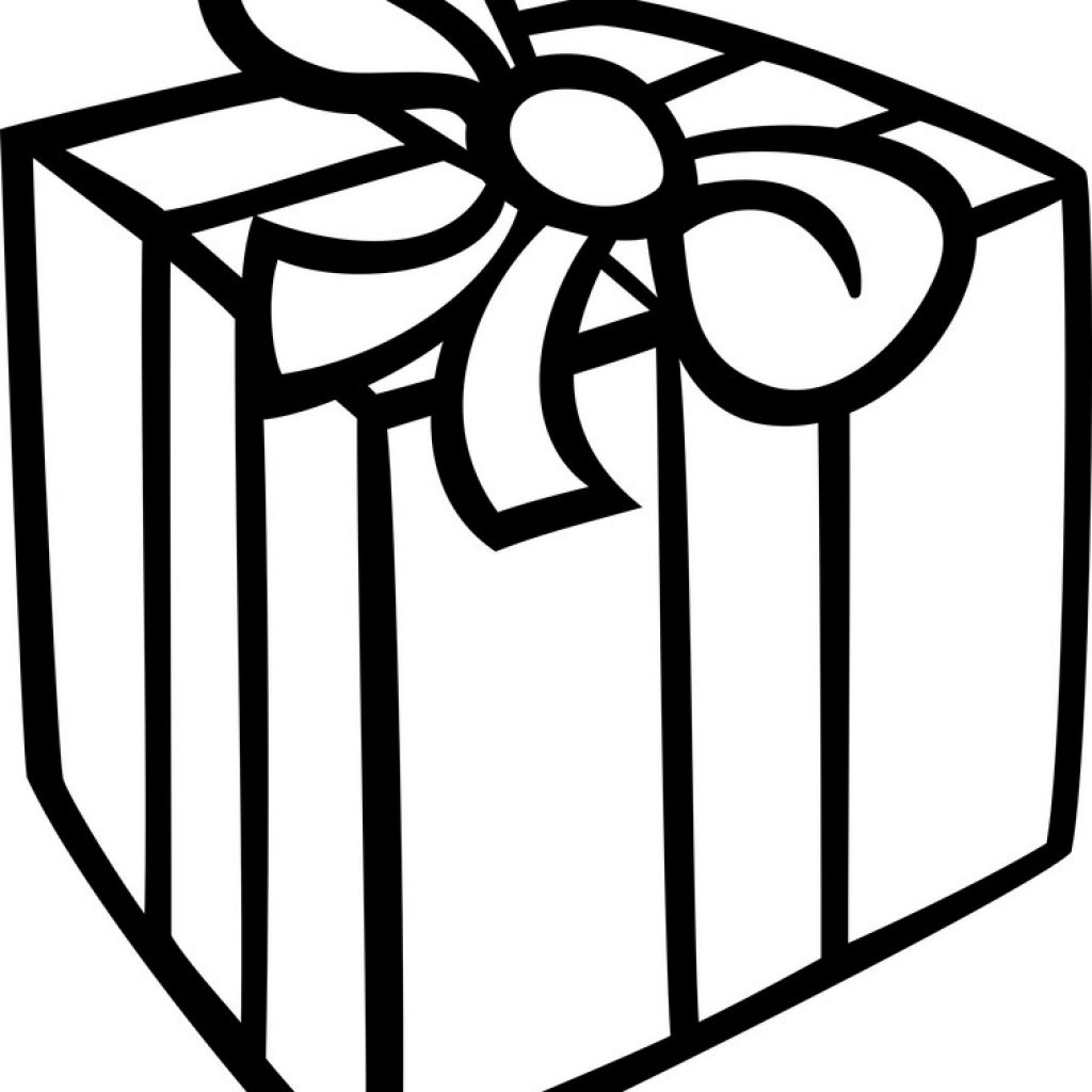 Christmas Gift Coloring Page With Royalty Free Vector Image