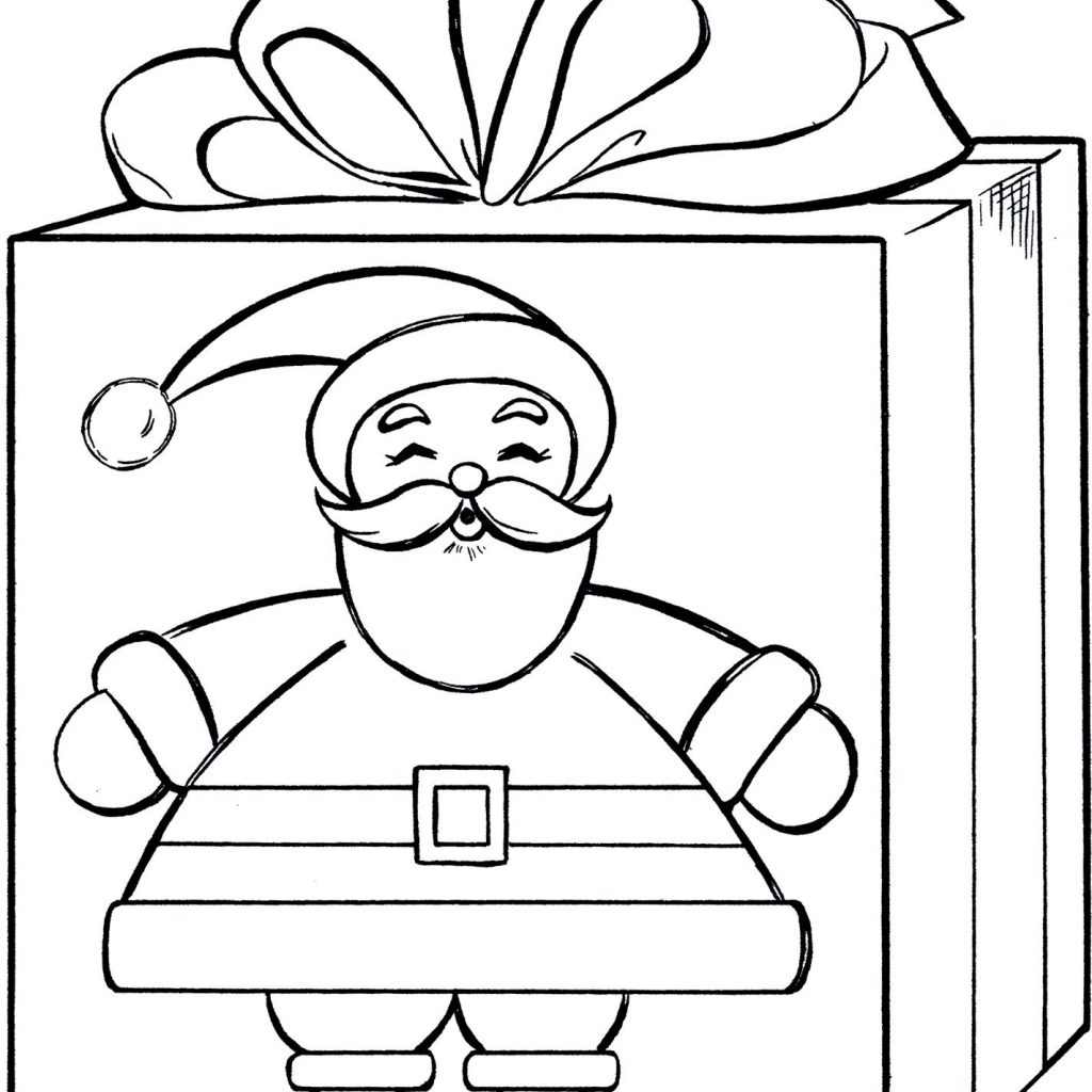 Christmas Gift Coloring Page With Santa Cute Pinterest Gifts And