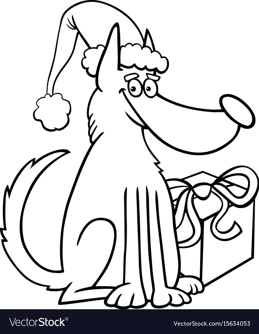 Christmas Gift Coloring With Dog And Book Royalty Free Vector