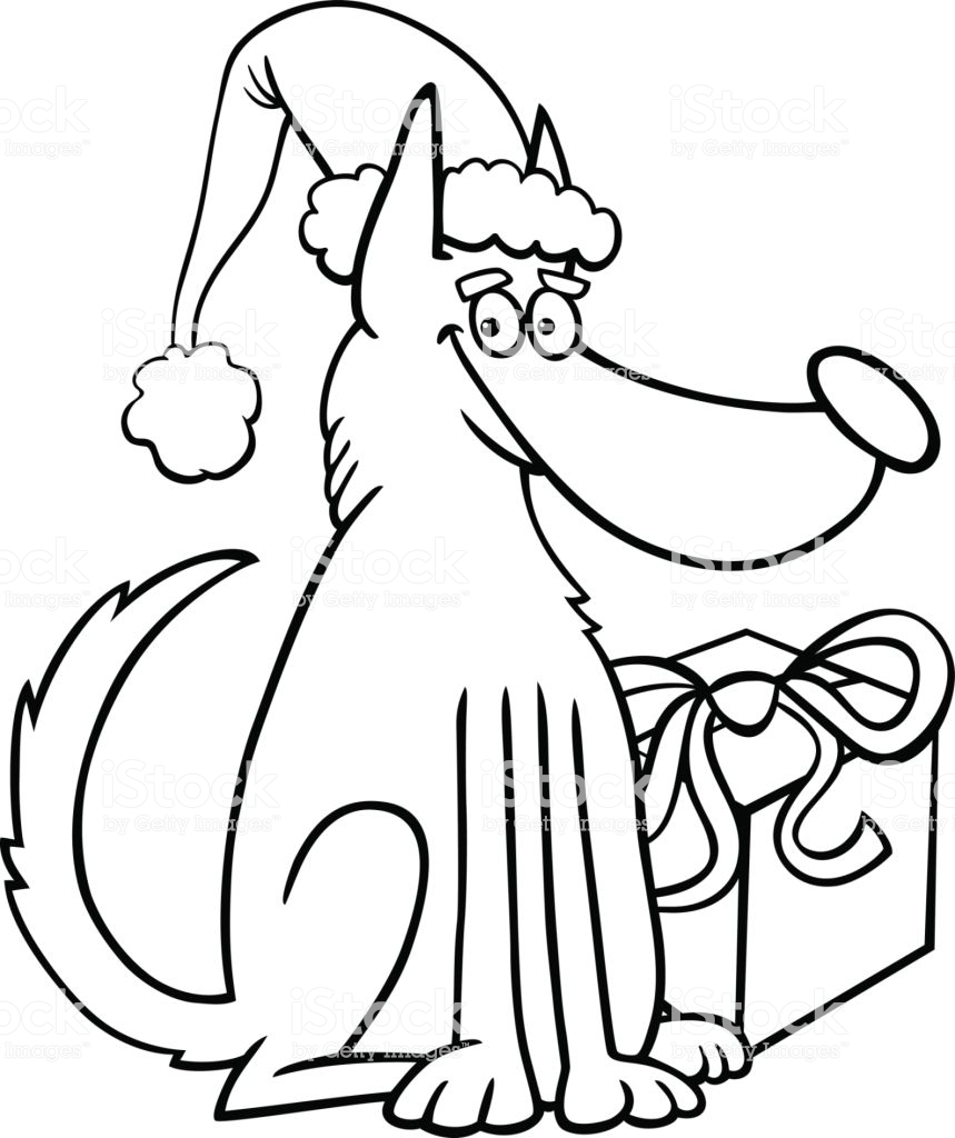 Christmas Gift Coloring With Dog And Book Stock Vector Art More Images