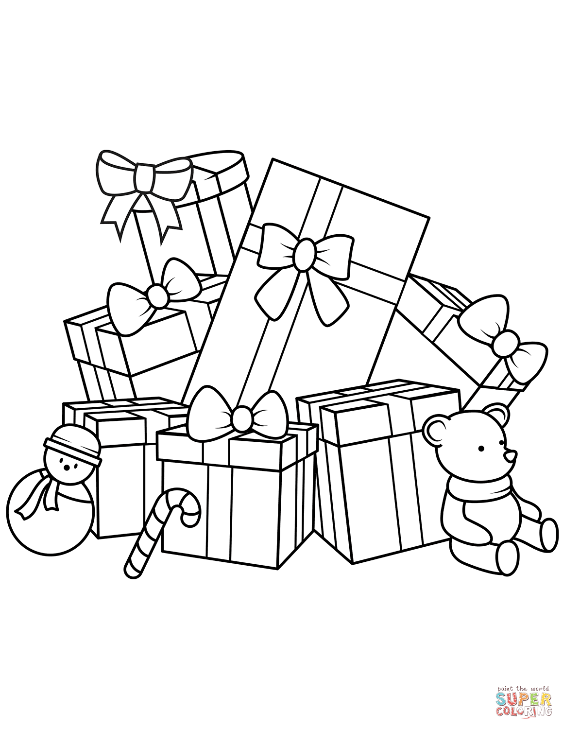 Christmas Gift Coloring With Gifts Pages Free