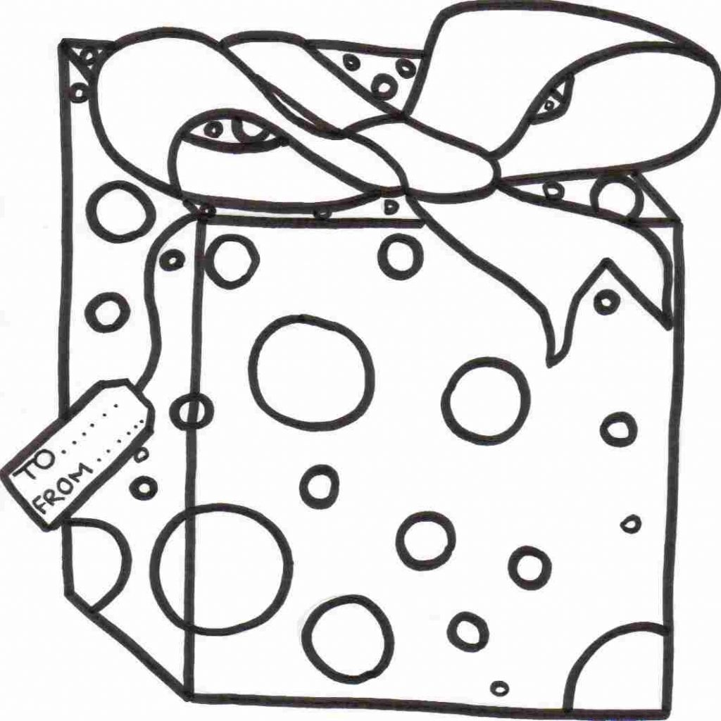 Christmas Gift Coloring With Present Clipart