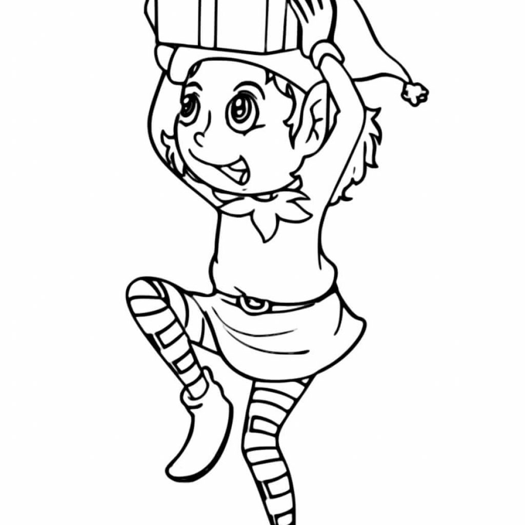 Christmas Girl Coloring Pages With Elf Incredible Free Printable Collection