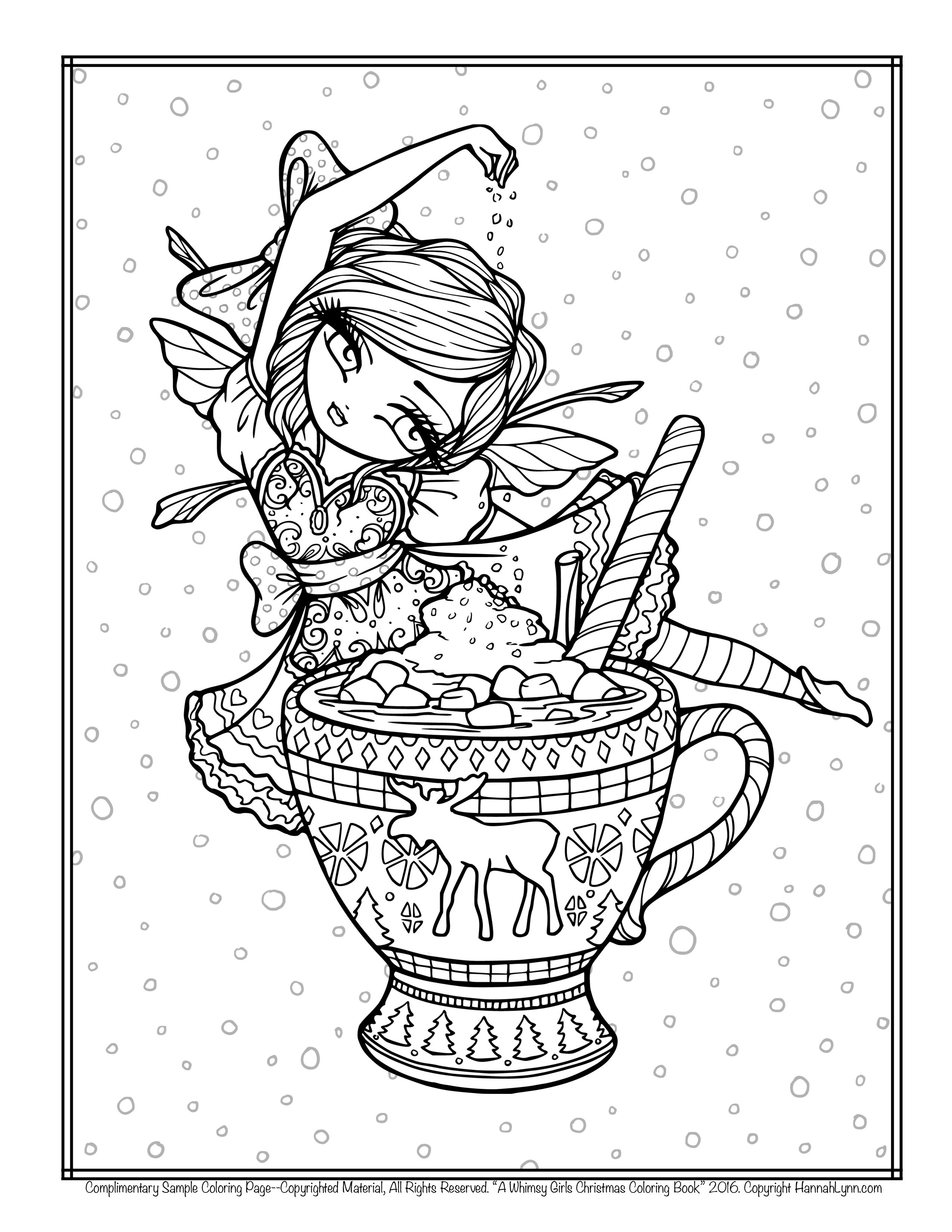 Christmas Girl Coloring Pages With FREE Hannah Lynn Page HannahLynn Com Hot Cocoa Fairy