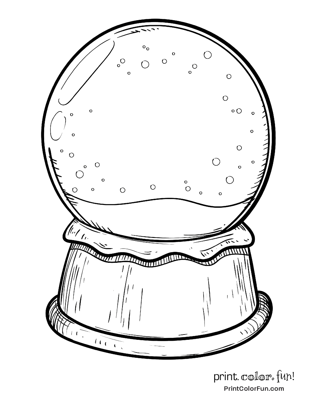 Christmas Globe Coloring Pages With Blank Snow Page Print Color Fun
