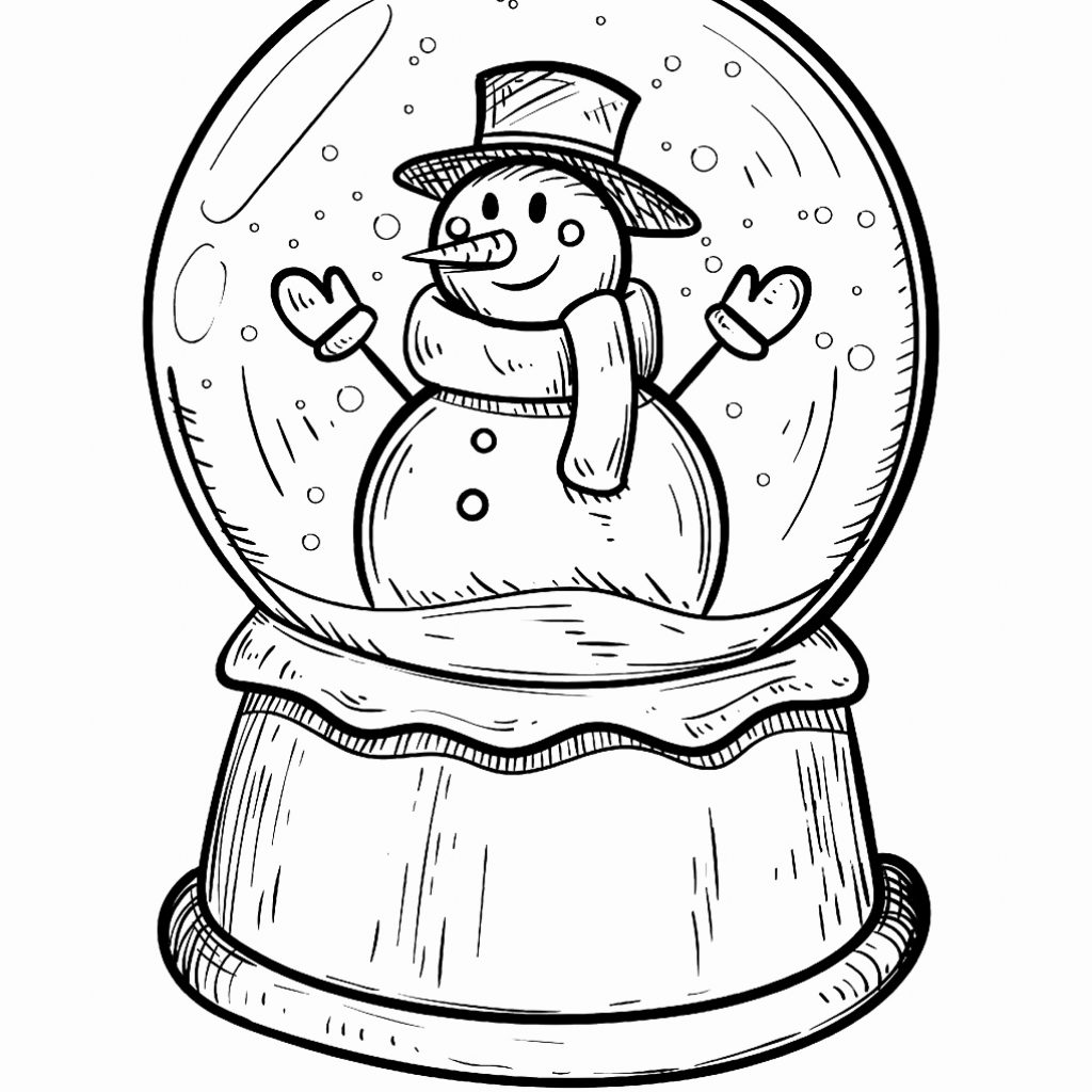 Christmas Globe Coloring Pages With Of Snow Globes Best Image Page Revimage Co